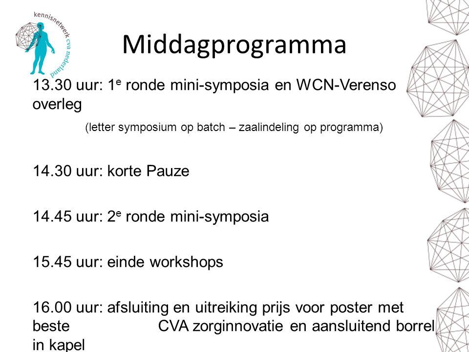 Middagprogramma 13.30 uur: 1e ronde mini-symposia en WCN-Verenso overleg. (letter symposium op batch – zaalindeling op programma)