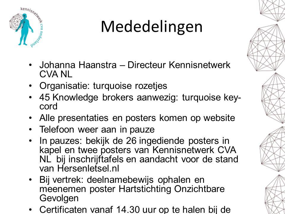 Mededelingen Johanna Haanstra – Directeur Kennisnetwerk CVA NL