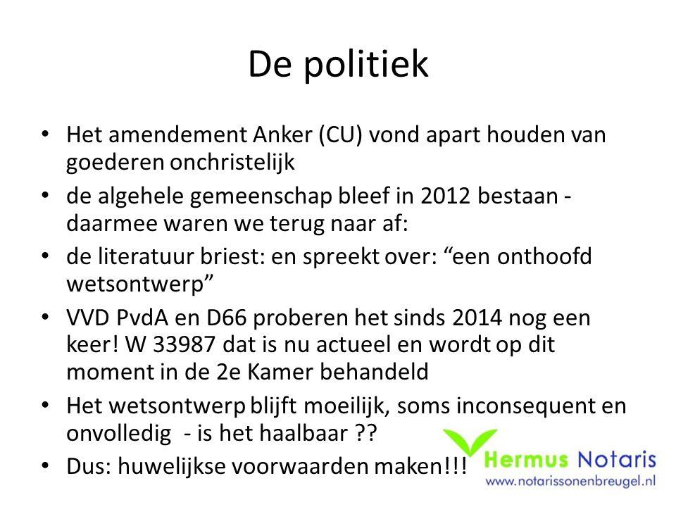 De politiek Het amendement Anker (CU) vond apart houden van goederen onchristelijk.