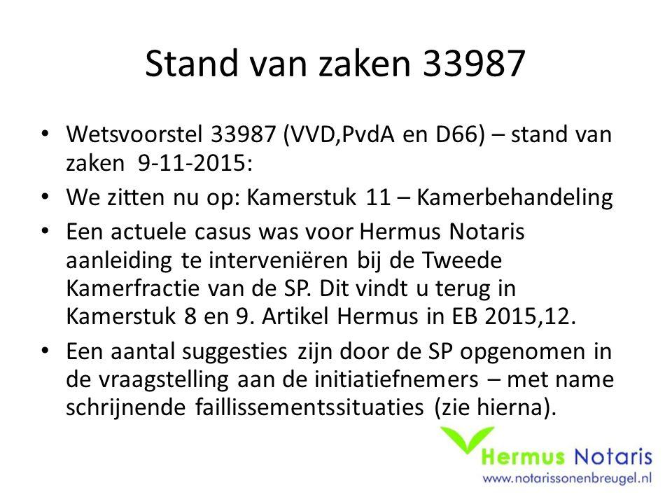 Stand van zaken 33987 Wetsvoorstel 33987 (VVD,PvdA en D66) – stand van zaken 9-11-2015: We zitten nu op: Kamerstuk 11 – Kamerbehandeling.