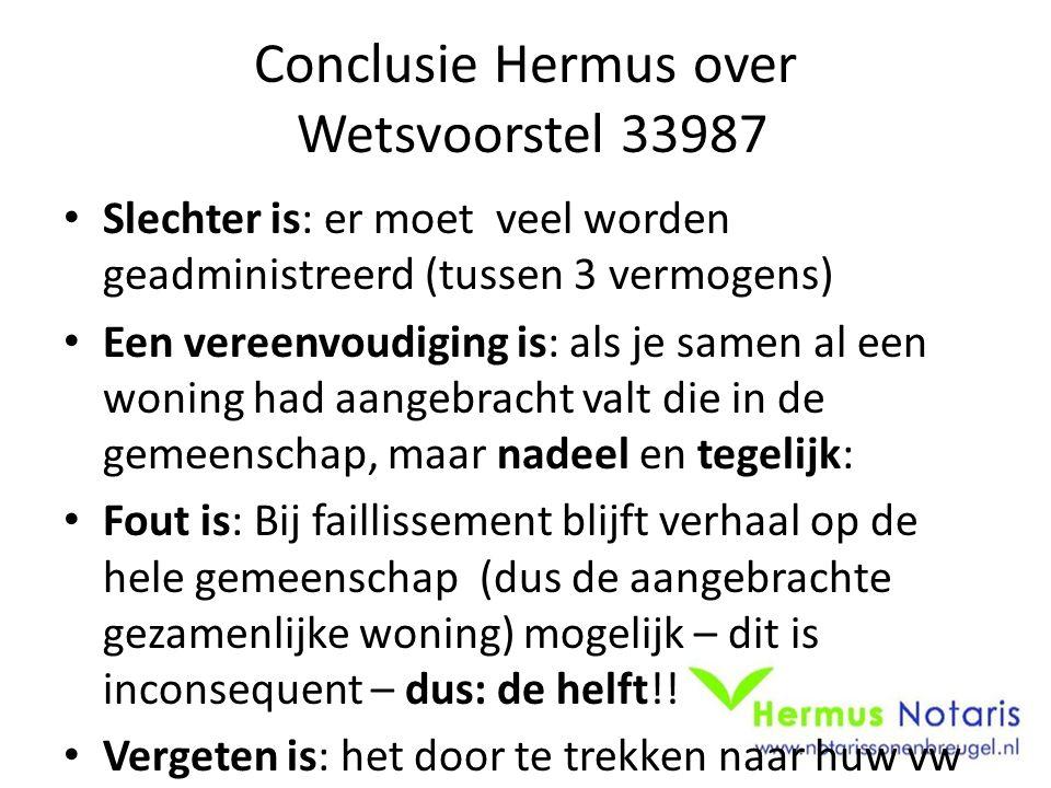 Conclusie Hermus over Wetsvoorstel 33987