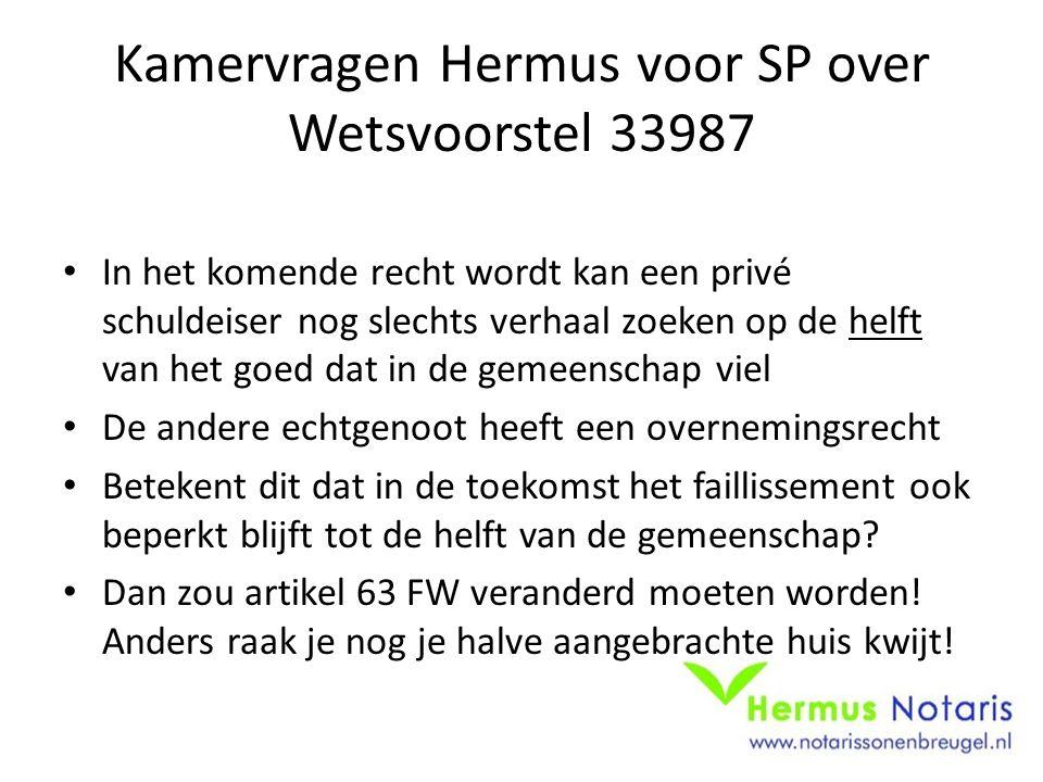 Kamervragen Hermus voor SP over Wetsvoorstel 33987