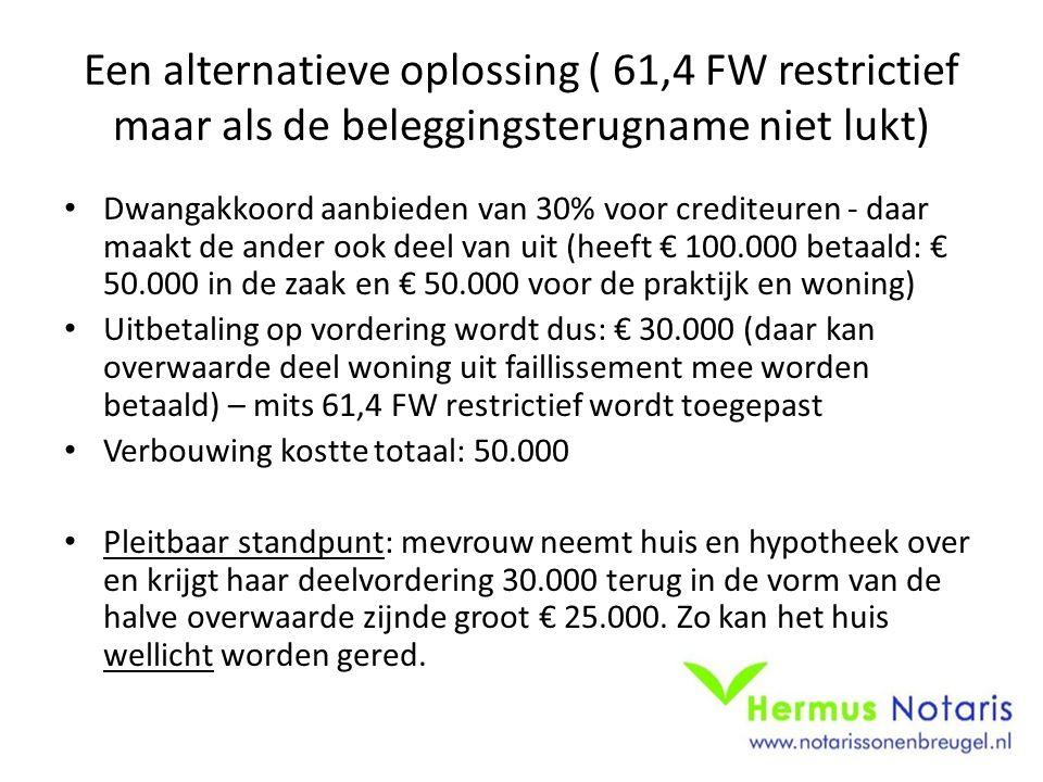 Een alternatieve oplossing ( 61,4 FW restrictief maar als de beleggingsterugname niet lukt)