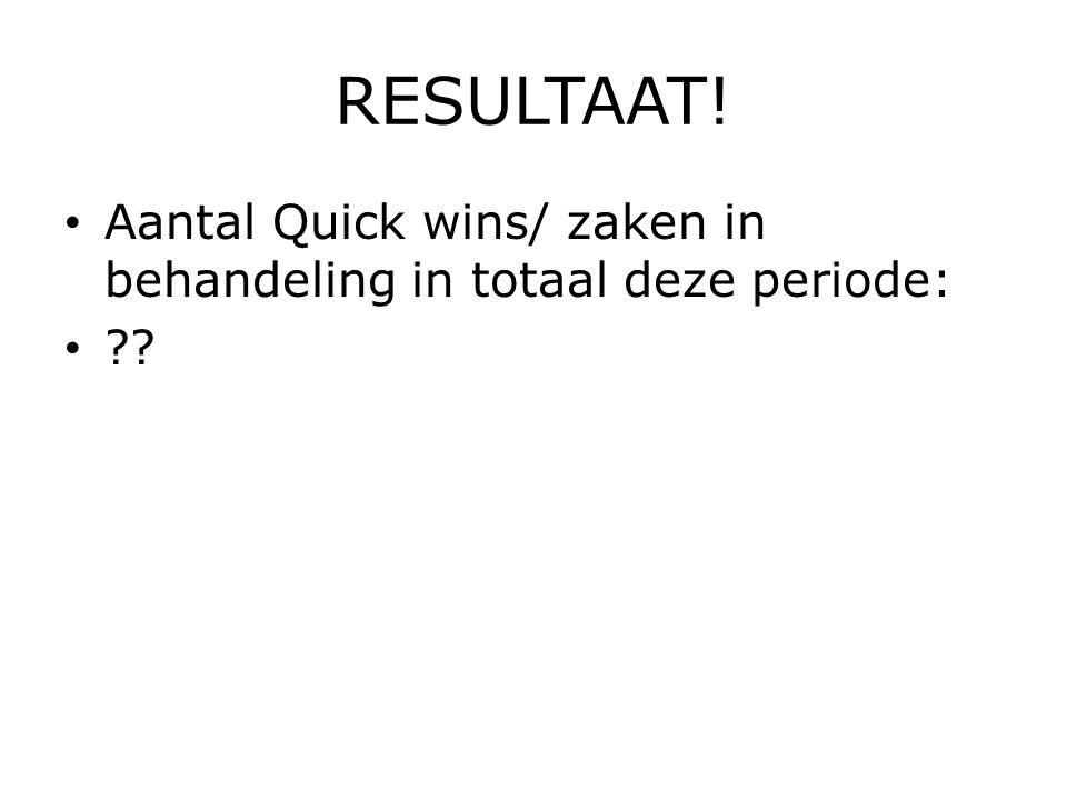 RESULTAAT! Aantal Quick wins/ zaken in behandeling in totaal deze periode: