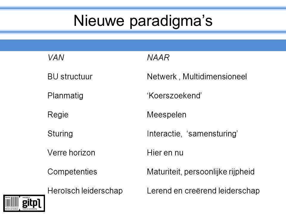 Nieuwe paradigma's VAN NAAR BU structuur Netwerk , Multidimensioneel