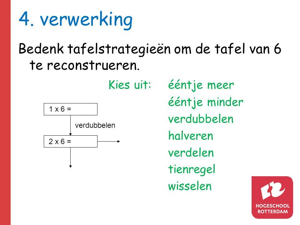 4. verwerking Bedenk tafelstrategieën om de tafel van 6 te reconstrueren. Kies uit: ééntje meer. ééntje minder.