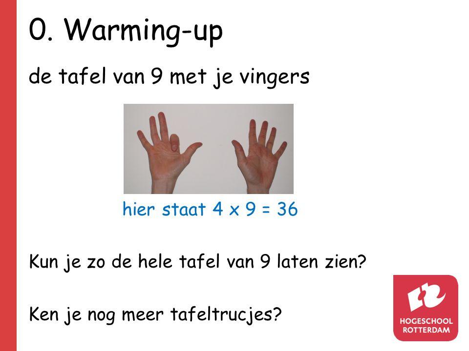 0. Warming-up de tafel van 9 met je vingers hier staat 4 x 9 = 36