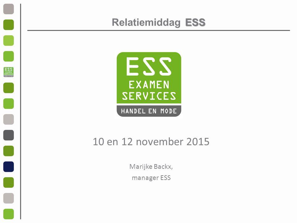 Relatiemiddag ESS 10 en 12 november 2015 Marijke Backx, manager ESS
