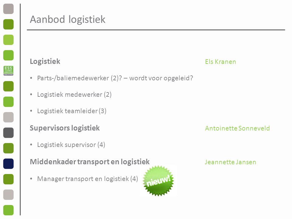 Aanbod logistiek Logistiek Els Kranen