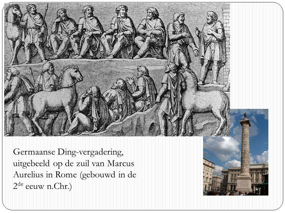 Germaanse Ding-vergadering, uitgebeeld op de zuil van Marcus Aurelius in Rome (gebouwd in de 2de eeuw n.Chr.)
