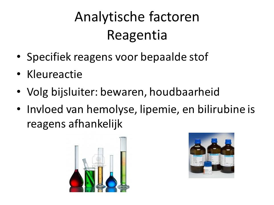 Analytische factoren Reagentia