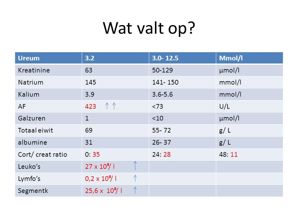 Wat valt op Ureum 3.2 3.0- 12.5 Mmol/l Kreatinine 63 50-129 µmol/l