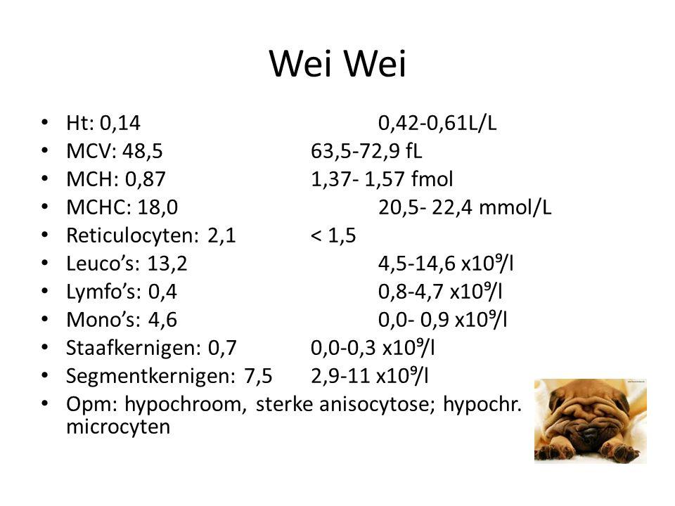 Wei Wei Ht: 0,14 0,42-0,61L/L MCV: 48,5 63,5-72,9 fL