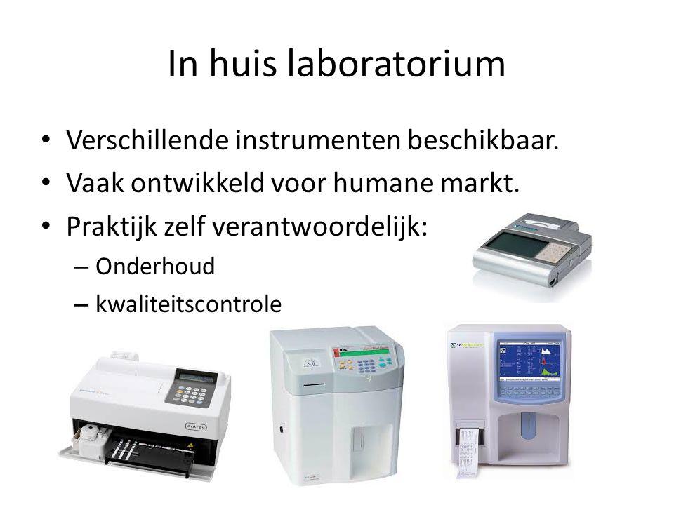 In huis laboratorium Verschillende instrumenten beschikbaar.