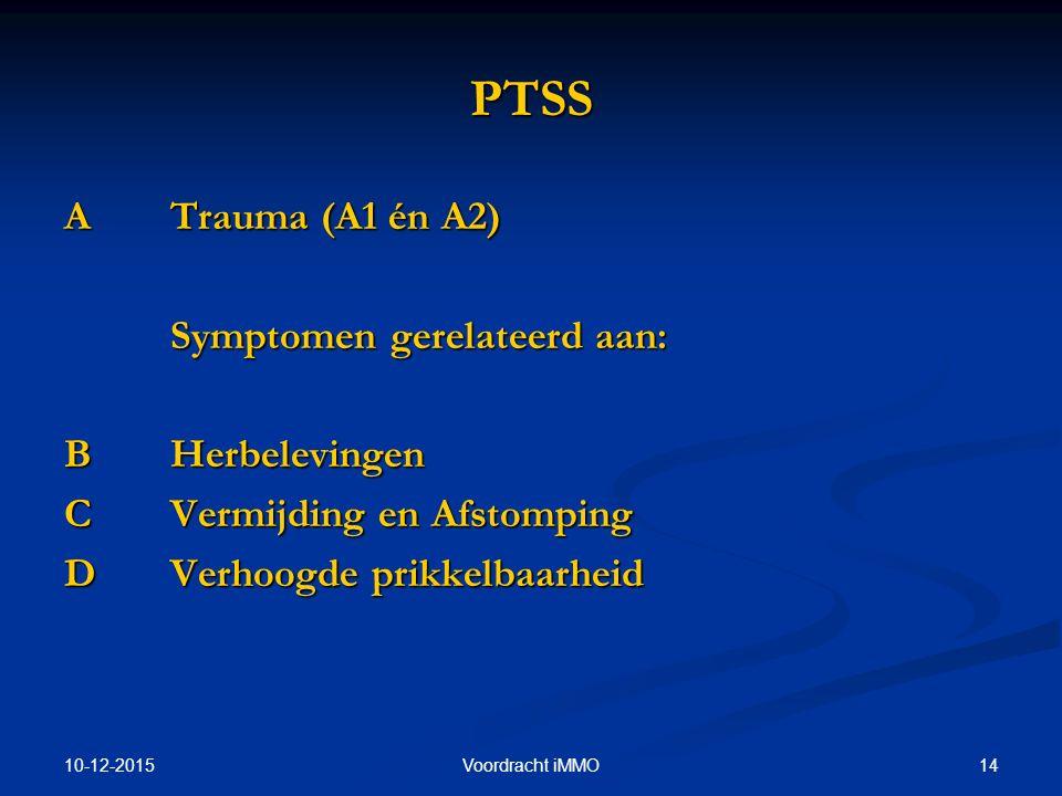 PTSS A Trauma (A1 én A2) Symptomen gerelateerd aan: B Herbelevingen