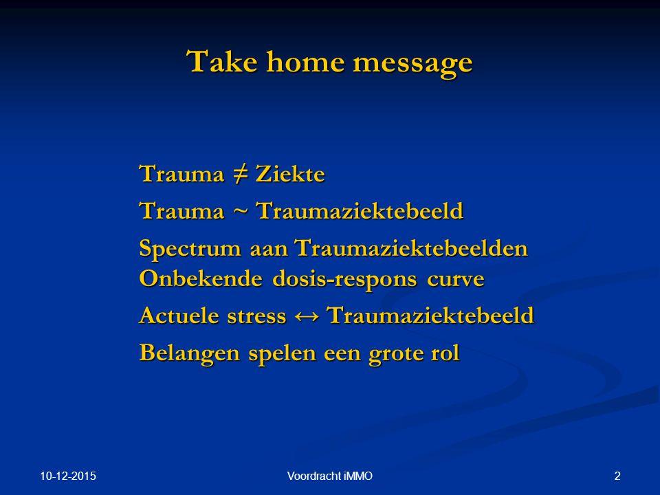 Take home message Trauma ≠ Ziekte Trauma ~ Traumaziektebeeld