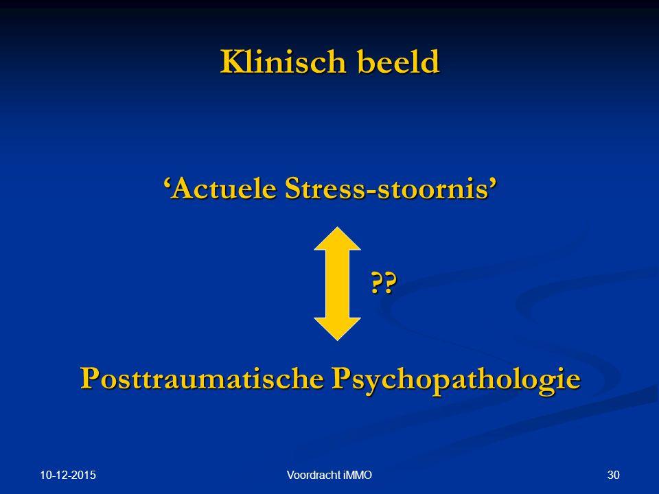 'Actuele Stress-stoornis' Posttraumatische Psychopathologie