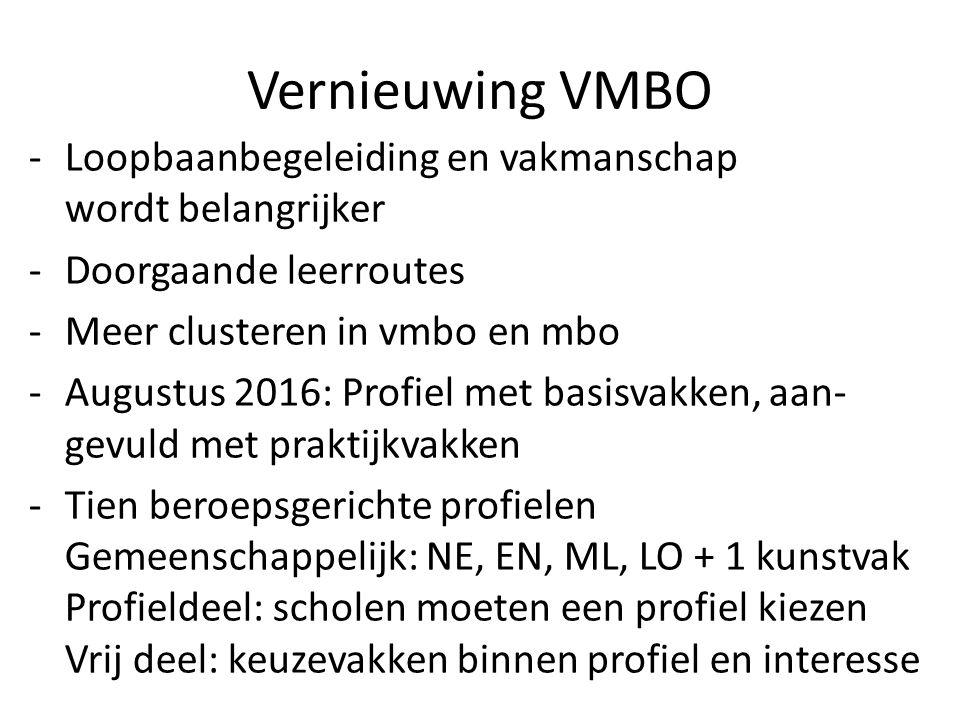 Vernieuwing VMBO Loopbaanbegeleiding en vakmanschap wordt belangrijker