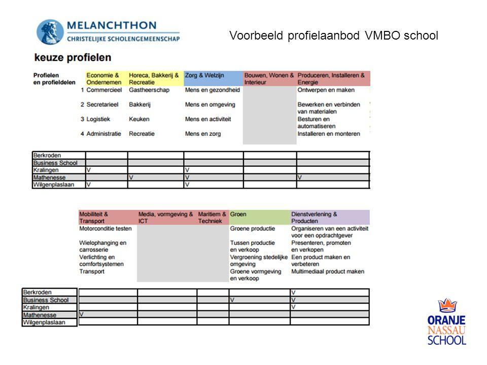 Voorbeeld profielaanbod VMBO school