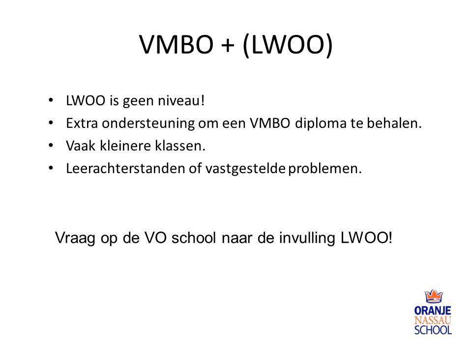 VMBO + (LWOO) LWOO is geen niveau!
