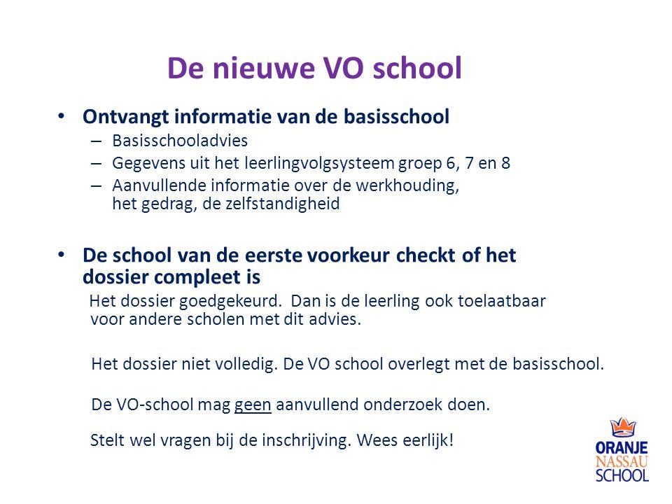 De nieuwe VO school Ontvangt informatie van de basisschool
