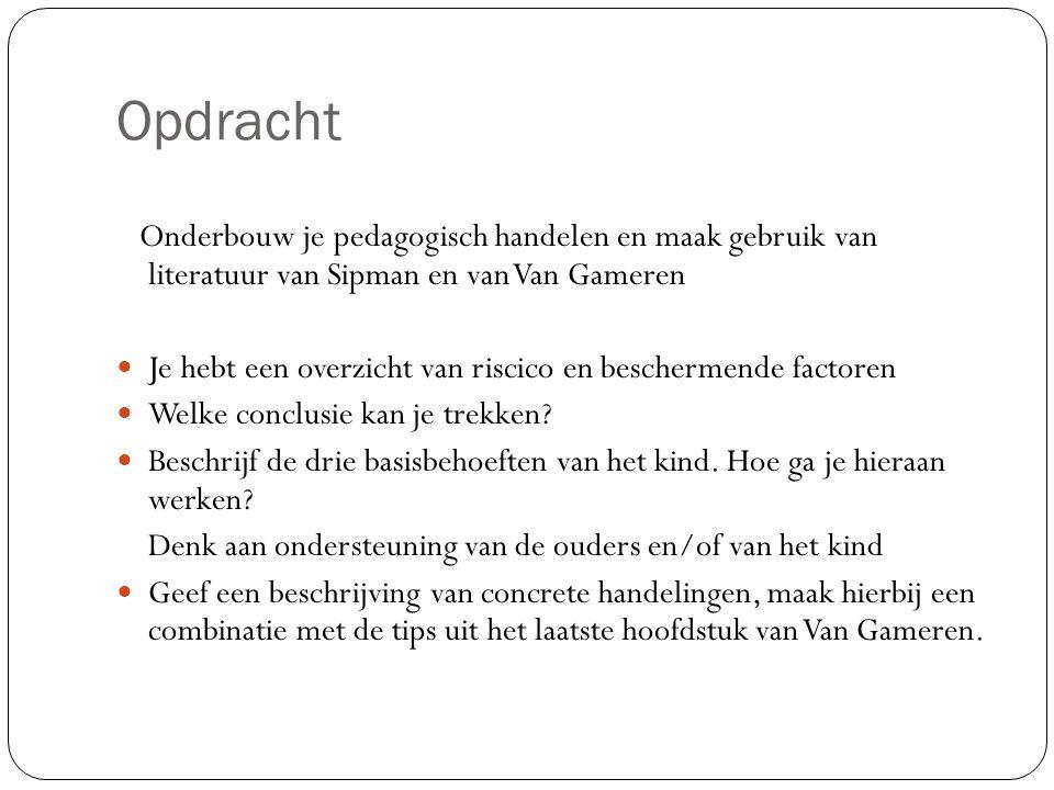 Opdracht Onderbouw je pedagogisch handelen en maak gebruik van literatuur van Sipman en van Van Gameren.