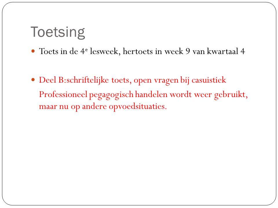 Toetsing Toets in de 4e lesweek, hertoets in week 9 van kwartaal 4