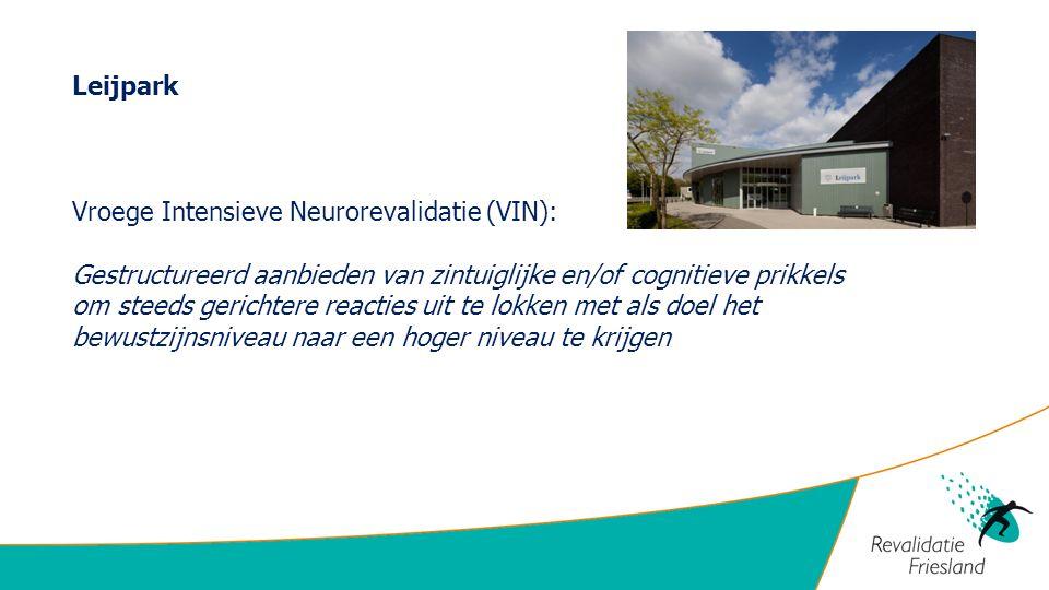 Leijpark Vroege Intensieve Neurorevalidatie (VIN): Gestructureerd aanbieden van zintuiglijke en/of cognitieve prikkels.