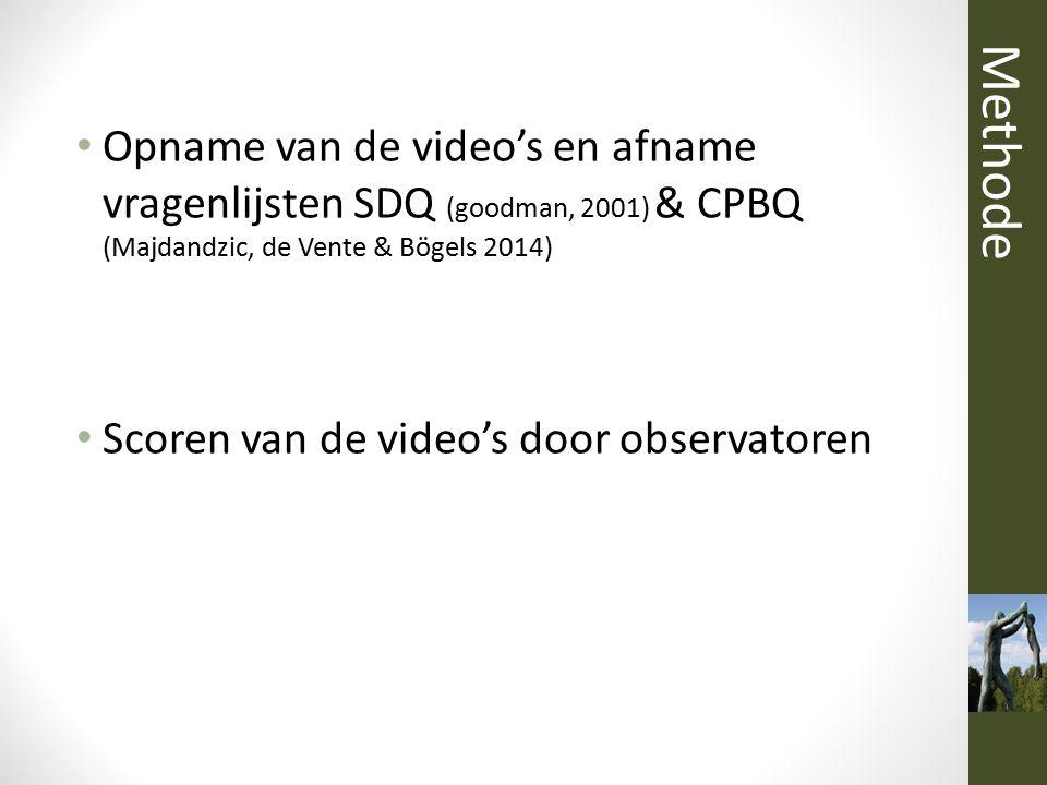 Methode Opname van de video's en afname vragenlijsten SDQ (goodman, 2001) & CPBQ (Majdandzic, de Vente & Bögels 2014)
