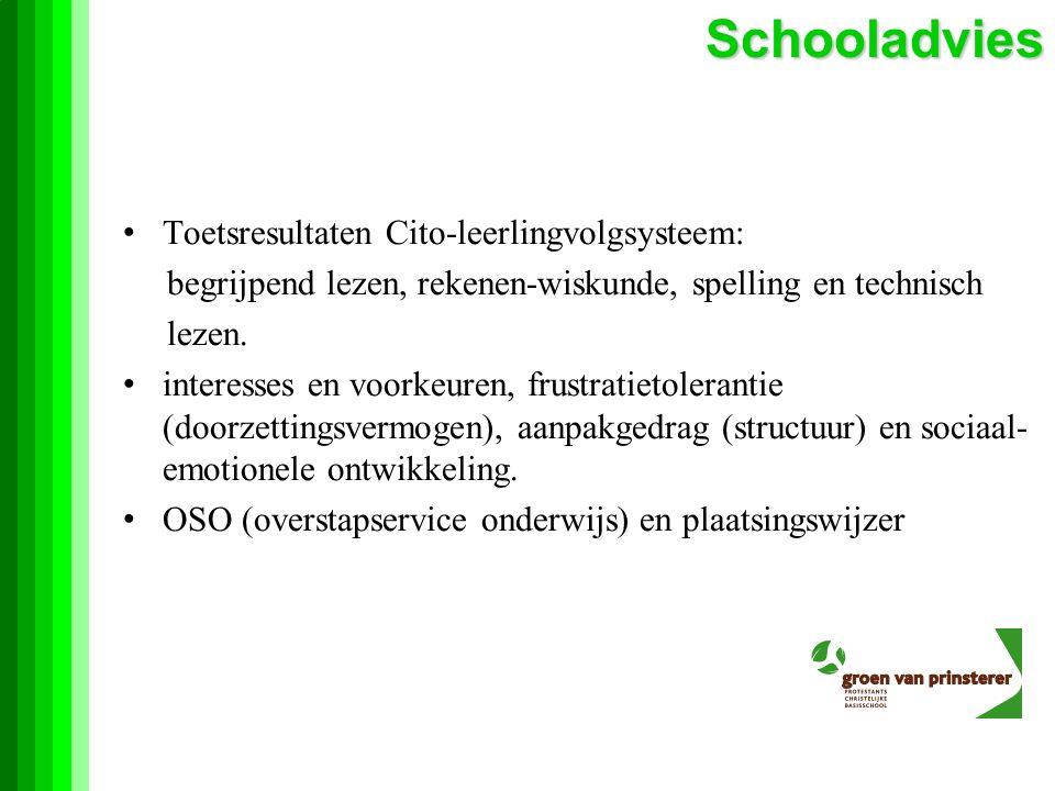 Schooladvies Toetsresultaten Cito-leerlingvolgsysteem: