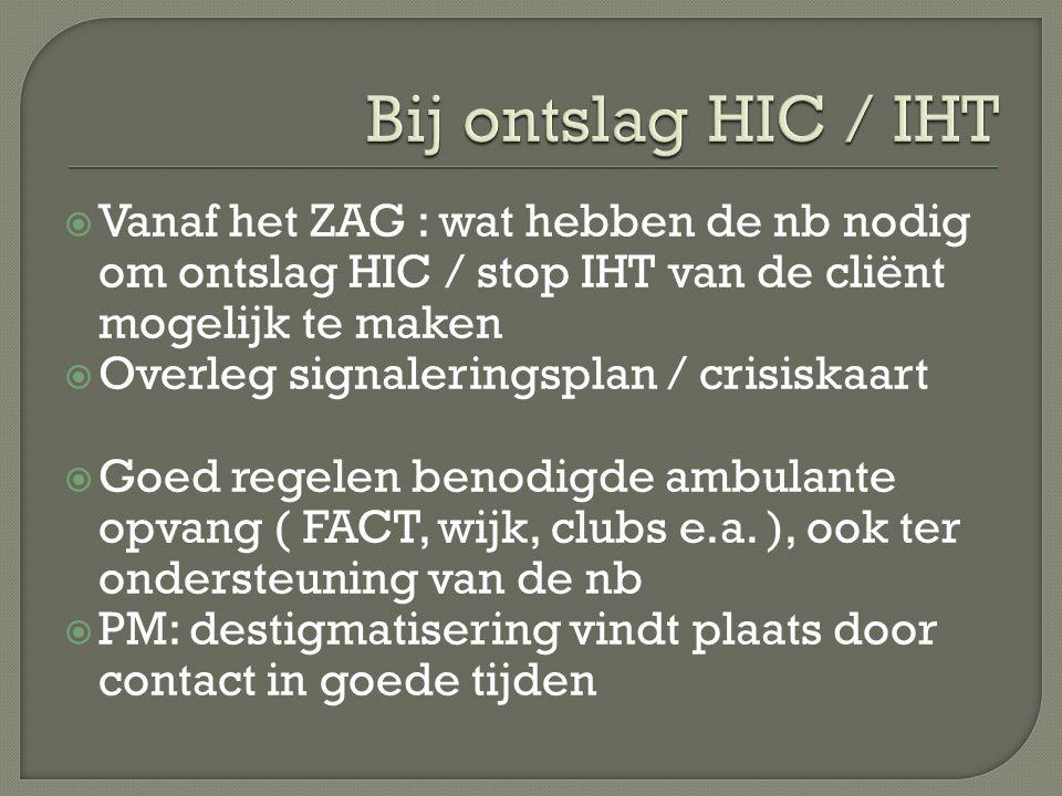 Bij ontslag HIC / IHT Vanaf het ZAG : wat hebben de nb nodig om ontslag HIC / stop IHT van de cliënt mogelijk te maken.