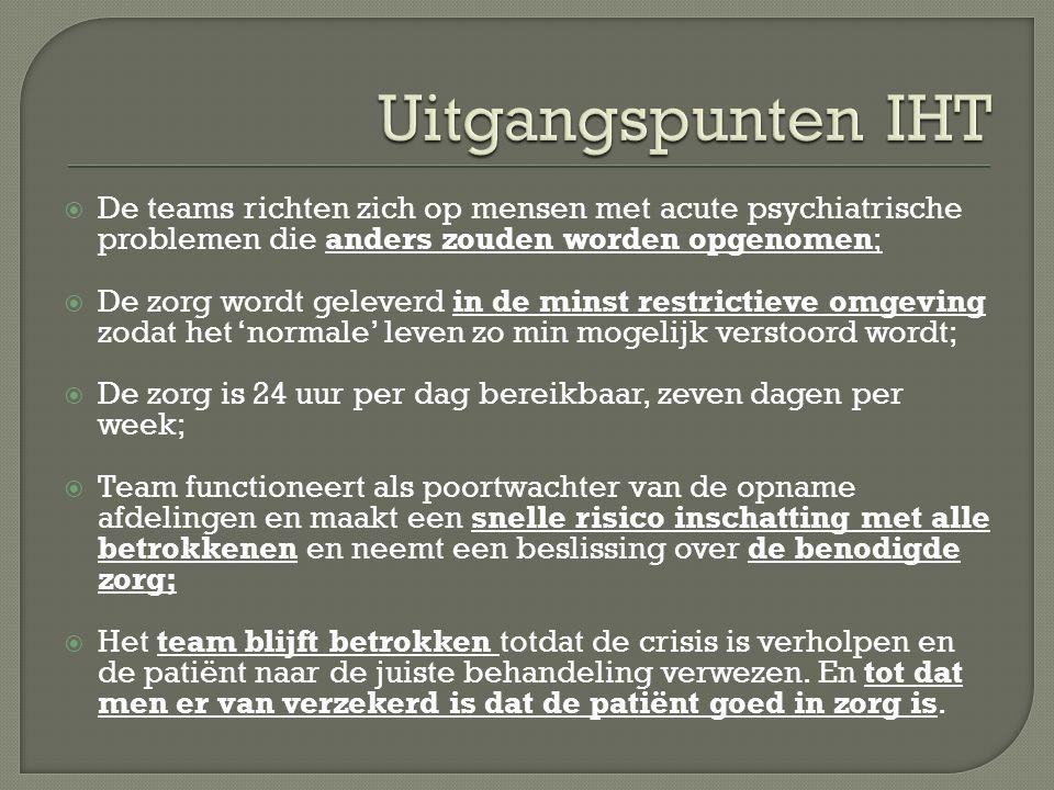 Uitgangspunten IHT De teams richten zich op mensen met acute psychiatrische problemen die anders zouden worden opgenomen;