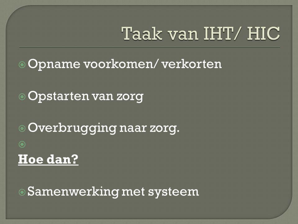 Taak van IHT/ HIC Opname voorkomen/ verkorten Opstarten van zorg