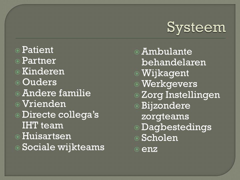 Systeem Patient Ambulante behandelaren Partner Kinderen Wijkagent