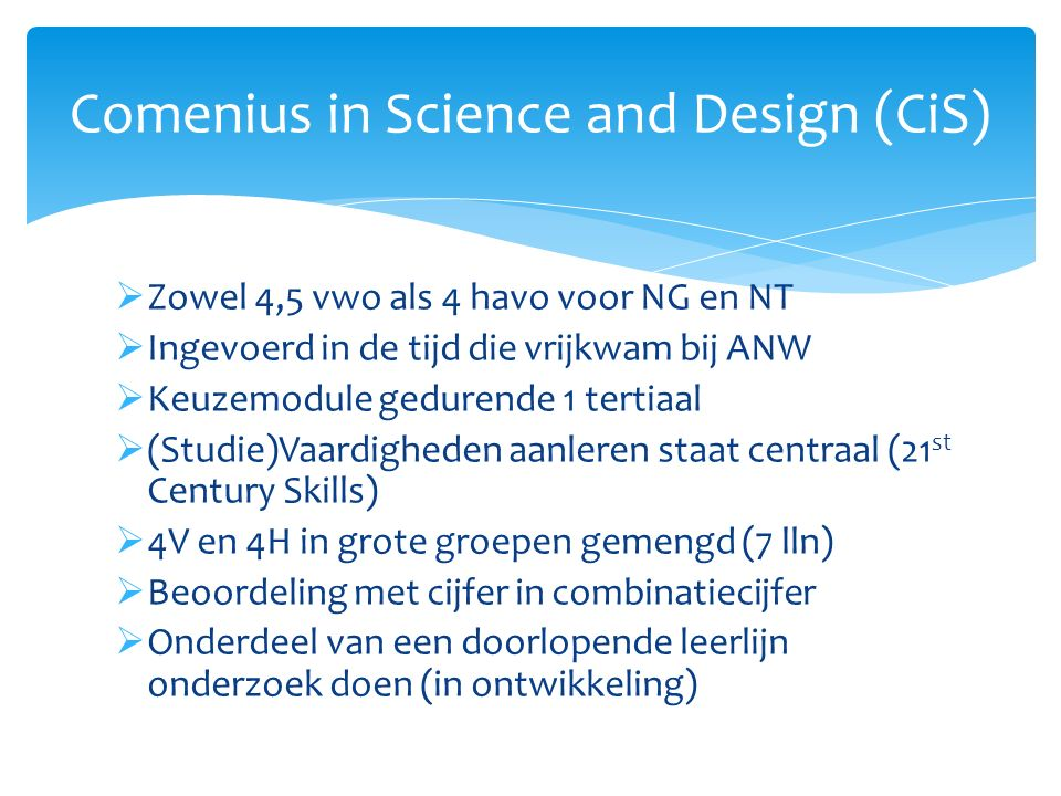 Comenius in Science and Design (CiS)
