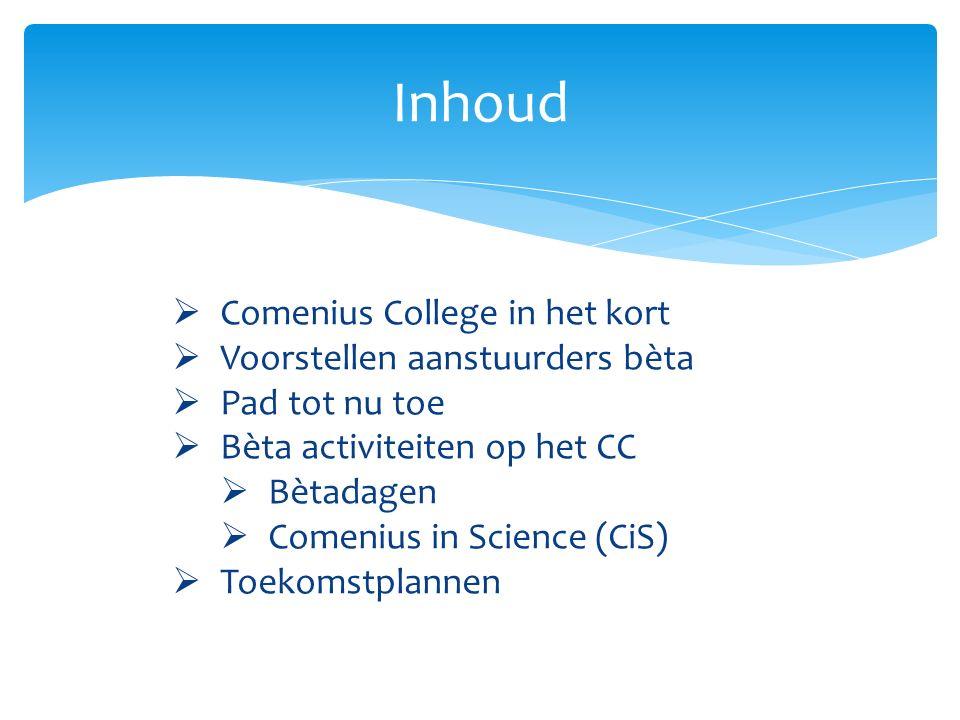 Inhoud Comenius College in het kort Voorstellen aanstuurders bèta