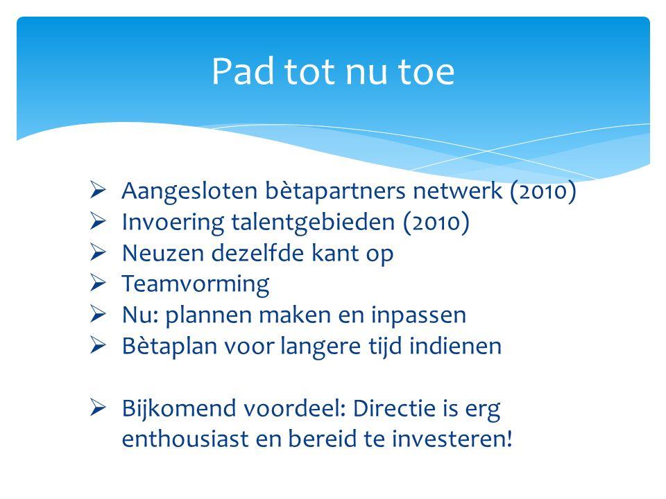 Pad tot nu toe Aangesloten bètapartners netwerk (2010)