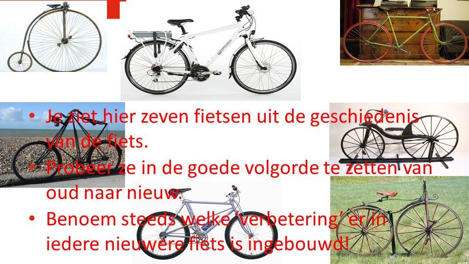 Je ziet hier zeven fietsen uit de geschiedenis van de fiets.