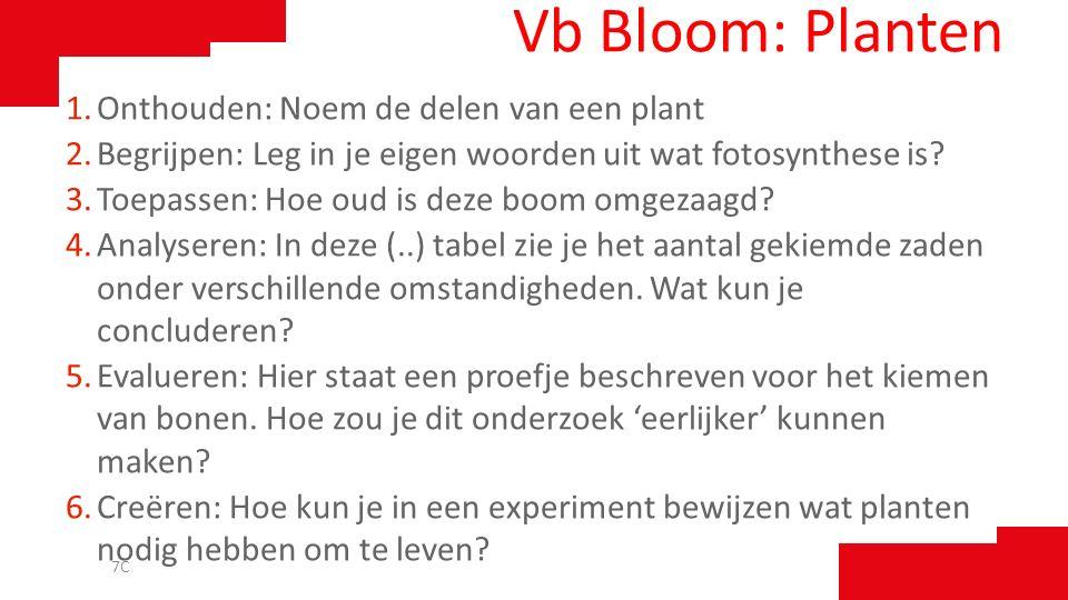 Vb Bloom: Planten Onthouden: Noem de delen van een plant