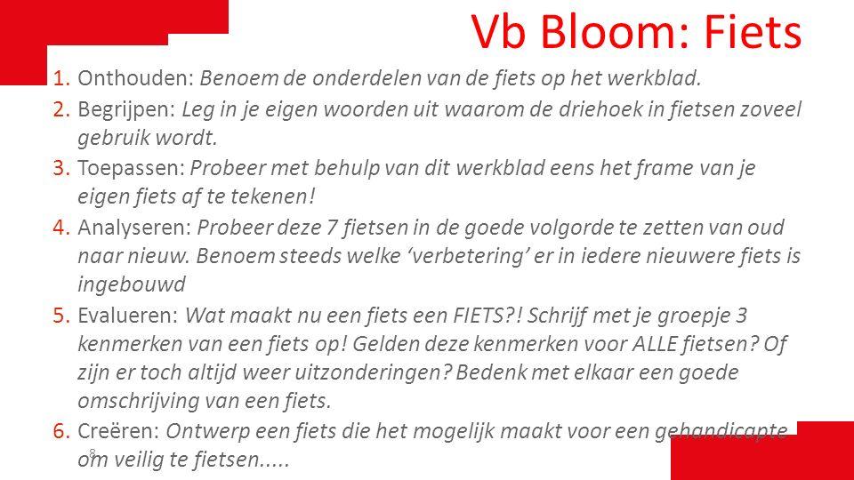 Vb Bloom: Fiets Onthouden: Benoem de onderdelen van de fiets op het werkblad.