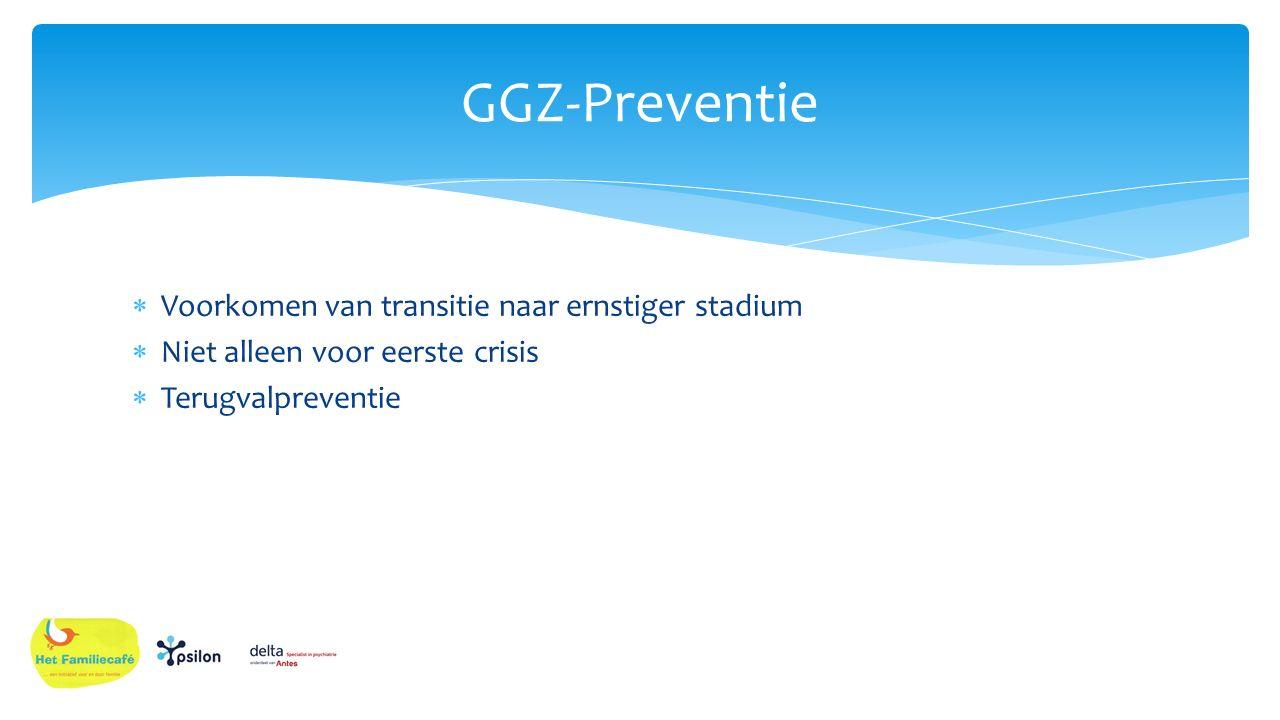 GGZ-Preventie Voorkomen van transitie naar ernstiger stadium