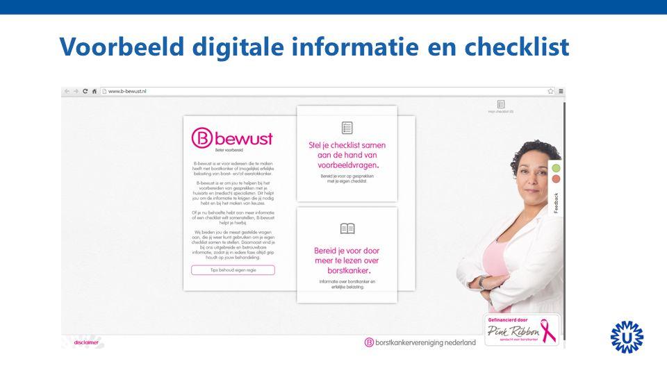 Voorbeeld digitale informatie en checklist
