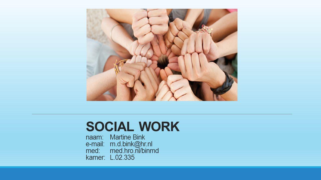 SOCIAL WORK naam:. Martine Bink e-mail:. m. d. bink@hr. nl med:. med