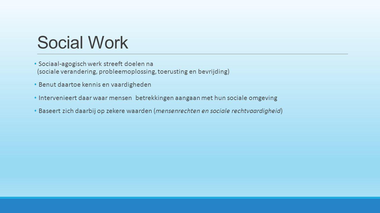 Social Work Sociaal-agogisch werk streeft doelen na (sociale verandering, probleemoplossing, toerusting en bevrijding)
