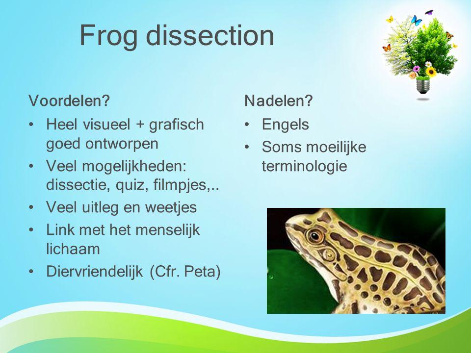 Frog dissection Voordelen Nadelen