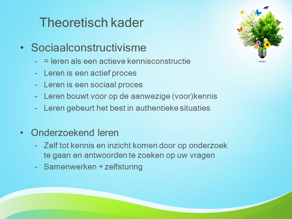Theoretisch kader Sociaalconstructivisme Onderzoekend leren