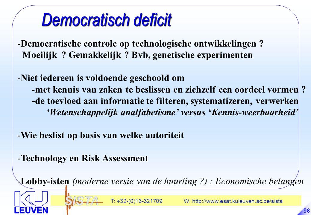 Democratisch deficit Democratische controle op technologische ontwikkelingen Moeilijk Gemakkelijk Bvb, genetische experimenten.
