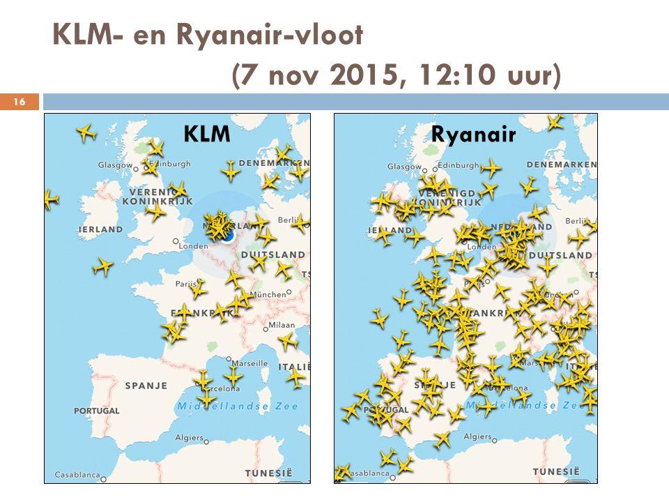 KLM- en Ryanair-vloot (7 nov 2015, 12:10 uur)