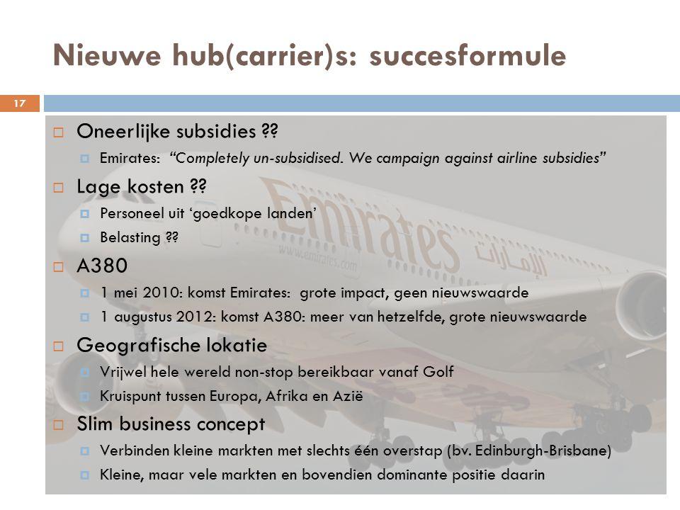 Nieuwe hub(carrier)s: succesformule