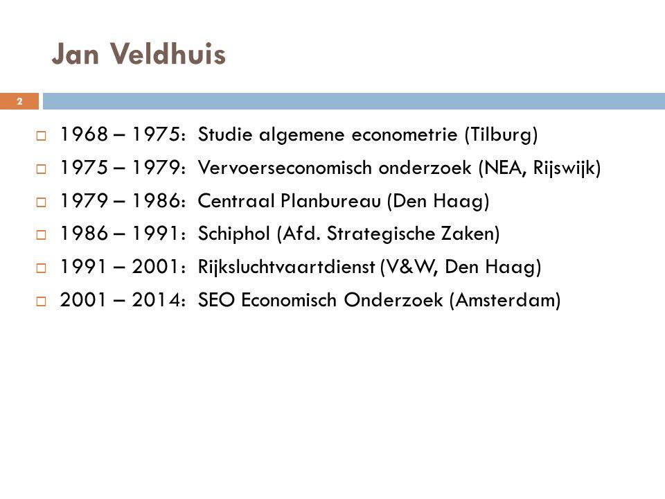 Jan Veldhuis 1968 – 1975: Studie algemene econometrie (Tilburg)